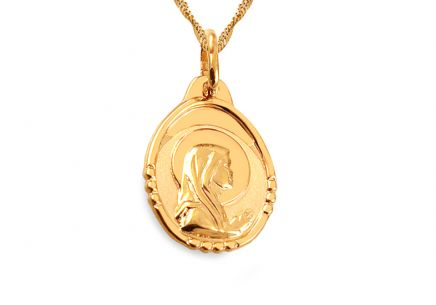 Gold Medaillon mit Madonna oval