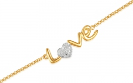 Goldarmband mit Diamanten 0,030 ct Love
