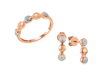 Brillant Set aus Roségold 0,060 ct