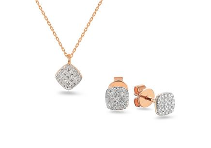 Brillant Set aus Roségold 0,190 ct