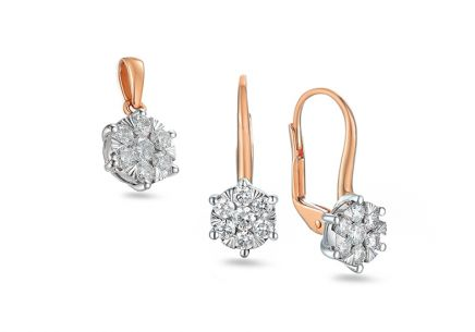 Brillant Set aus Roségold 0,680 ct