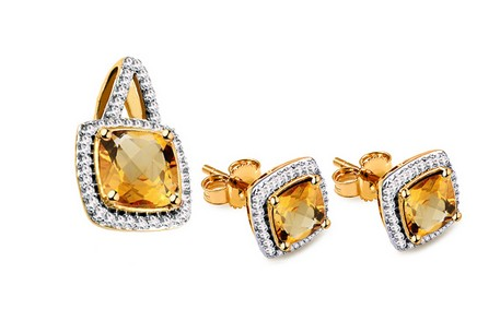 Citrine Set mit Diamanten 0,190 ct Carolynn