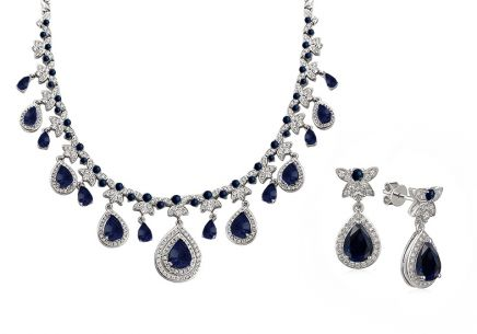 Exklusiver Saphir Set mit Diamanten 2,680 ct