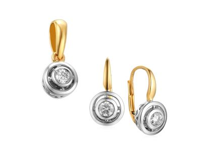 Goldset mit Brillanten 0,280 ct