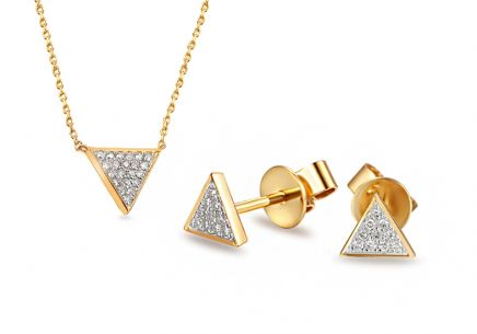 Goldset mit Diamanten 0,130 ct Triangle