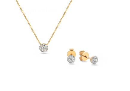 Goldset mit Diamanten 0,140 ct