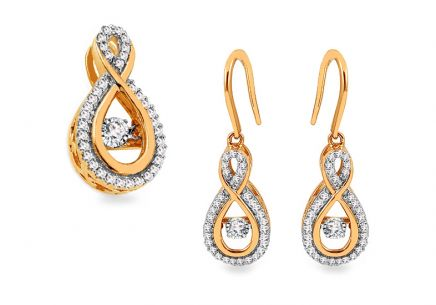 Goldset mit Diamanten 0,390 ct Dancing Diamonds