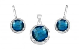Goldset mit Diamanten und Topas London Blue Keera