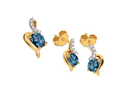 Goldset mit London Blue Topas und Diamanten 0,070 ct Trinette