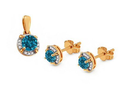 Goldset mit London Blue Topas und Diamanten 0,100 ct Lashea