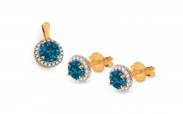 Goldset mit London Blue Topas und Diamanten 0,110 ct Nadya