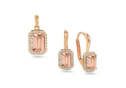 Morganit Set aus Roségold mit Diamanten 0,190 ct