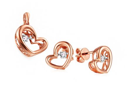 Set aus Roségold mit Diamanten 0,190 ct Dancing Diamonds Herzen