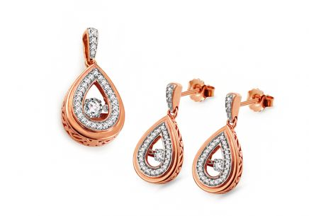 Set aus Roségold mit Diamanten 0,450 ct Dancing Diamonds