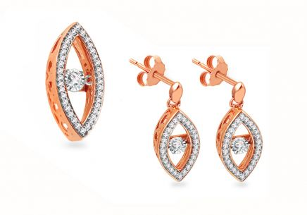 Set aus Rotgold mit 0.450 ct Diamond Dancing Diamonds