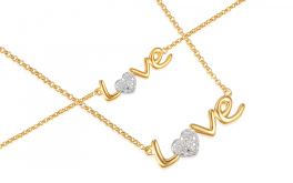 Set Halskette und Armband mit Diamanten 0,090 ct Love