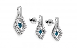 Set mit blauen Diamanten Dancing Diamonds 0,770 ct