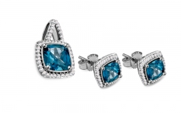 Set mit Diamanten 0,190 ct und London Blue Topas Mykaila 1