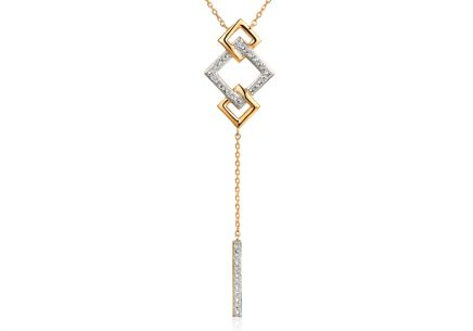 Brillant Gold Halskette mit Quadraten 0,040 ct