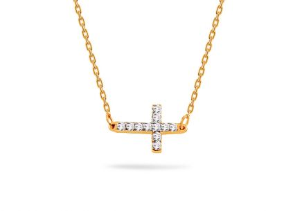 Gold Halskette mit Brillant Kreuz 0,060 ct