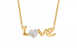 Gold Halskette mit Diamanten 0,060 ct Love