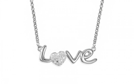 Gold Halskette mit Diamanten 0,060 ct Love white