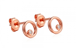 Goldohrringe mit Diamanten 0,020 ct Kandy rose