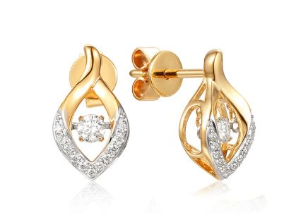 Goldohrringe mit Diamanten 0,200 ct Dancing Diamonds
