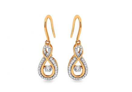 Goldohrringe mit Diamanten 0,220 ct Dancing Diamonds