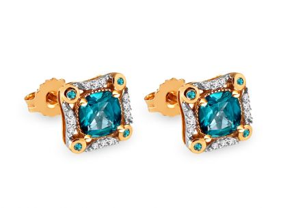 Goldohrringe mit London Blue Topas und Diamanten 0,110 ct