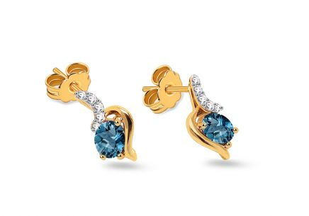 Goldohrringe mit London Blue Topasen und Diamanten 0,040 ct Trinette
