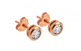 Goldohrstecker mit Diamanten 0,060 ct Mariya 6 rose