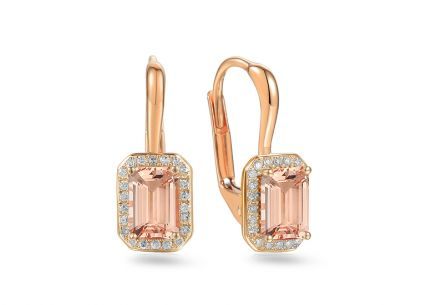 Morganit Ohrringe aus Roségold mit Diamanten 0,110 ct