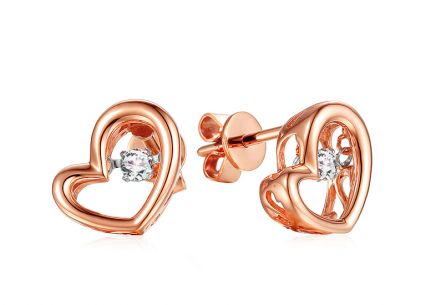 Ohrringe aus Roségold mit Diamanten 0,100 ct Dancing Diamonds Herzen