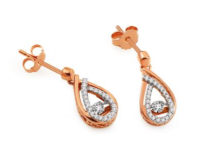 Ohrringe aus Roségold mit Diamanten 0,150 ct Dancing Diamonds