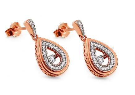 Ohrringe aus Roségold mit Diamanten 0,200 ct Dancing Diamonds