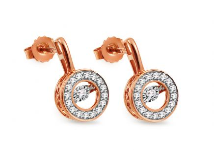 Ohrringe aus Roségold mit Diamanten 0,280 ct Dancing Diamonds
