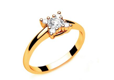 Verlobungsring mit Diamanten 0,190 ct Key to Heart 8 Yellow
