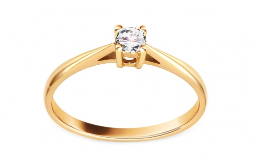 Gold Verlobungsring mit einem Diamanten 0,150 ct Royal Heart 11