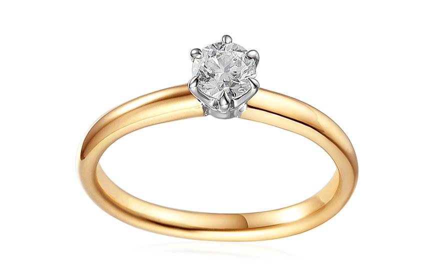 Gold Verlobungsring Zweifarbig Mit Einem Diamanten 0 500 Ct Caissa
