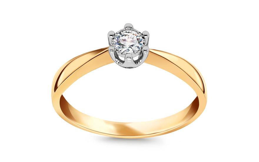 Gold Verlobungsring Zweifarbig Mit Einem Diamanten 0 100 Ct Fur