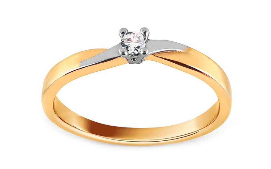 Gold Verlobungsring Zweifarbig Mit Zirkon Fur Damen Iz15630