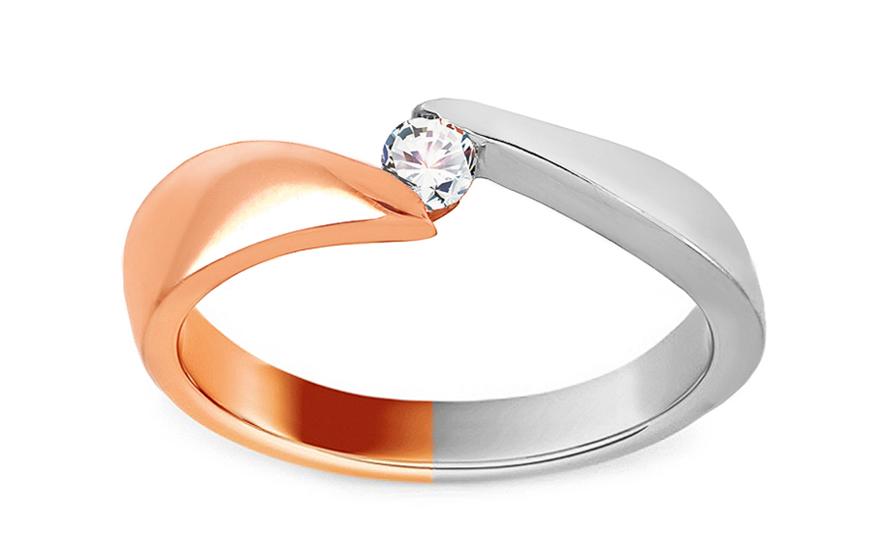 Gold Verlobungsring Zweifarbig Mit Zirkonen Amia Fur Damen Iz15204