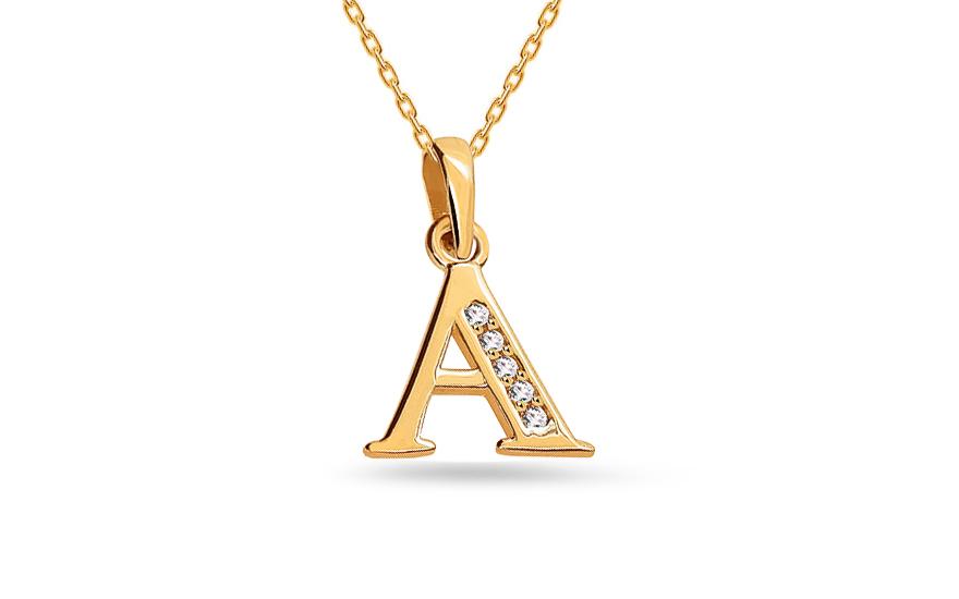 Goldanhänger Buchstaben A mit Zirkonen, für Damen (IZ16044 ...