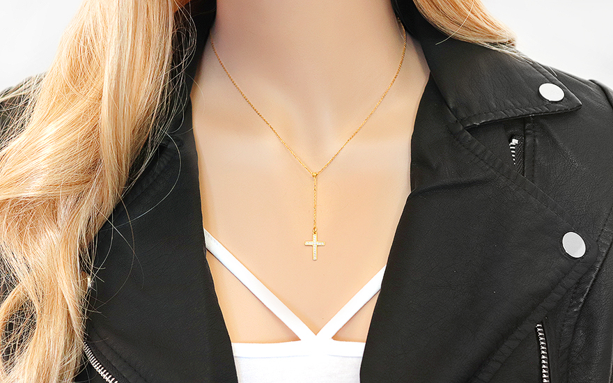 Goldkette damen kreuz  Goldkette mit Anhänger Kreuz, für Damen (IZ7751)   gSchmuck.de