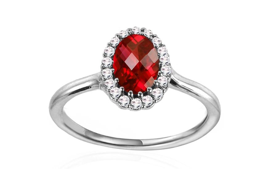 Ring Aus Weißgold Mit Rubin Und Diamanten 0140 Ct Rahel Für Damen
