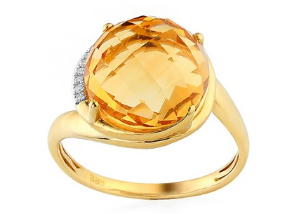 Gold Diamant Ring mit Citrin