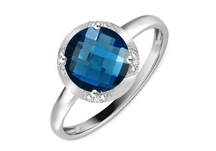 Gold Diamant Ring mit London Blue Topas Keera