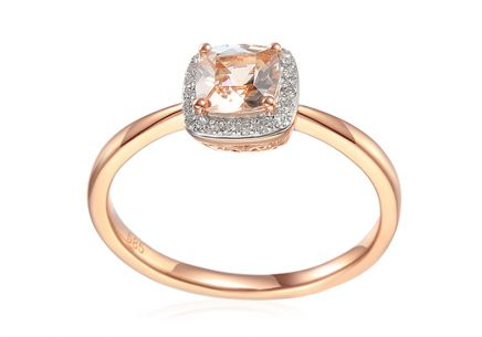 Morganit Ring aus Roségold mit Brillanten 0,060 ct