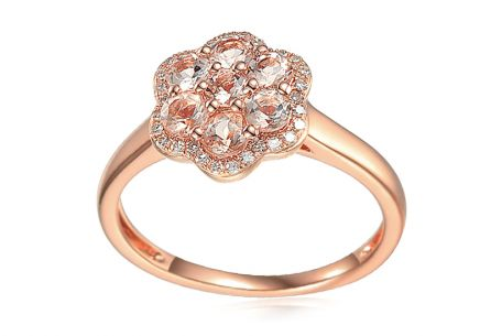 Morganit Ring aus Roségold mit Brillanten 0,110 ct